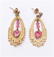 Sale 8640F - Lot 52 - A pair of pendant earrings set with pink hearts.
