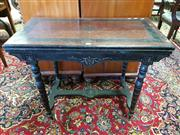 Sale 8792 - Lot 1087 - Victorian Ebonised & Amboyna Card Table, on ring turned legs with stretcher base (some faults with veneers)
