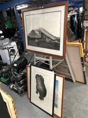 Sale 8816 - Lot 2091 - 2 Framed Vala Works: Charcoals of an Elephant & Figure Study