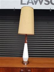 Sale 8839 - Lot 1044 - Ceramic & Teak Table Lamp with Fabric Shade