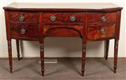 Sale 8871H - Lot 156 - An English antique mahogany George III 5 drawer bow front sideboard C: 1800. The shaped top above 2 centre drawers flanked by a pair...