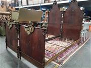 Sale 8917 - Lot 1031 - Pair of Italian Painted Metal Marital Single Bed, the high backs with applied MOP to form scroll-work, the low footboards surmounted...