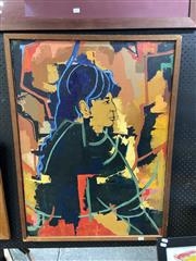 Sale 8914 - Lot 2083 - M. Nield - Portrait of a Native American acrylic on canvas, 70 x 94cm (frame) signed lower right