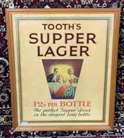 Sale 9002 - Lot 1058 - Framed Tooths Supper Lager Vintage Poster (h:57 x w:47cm)