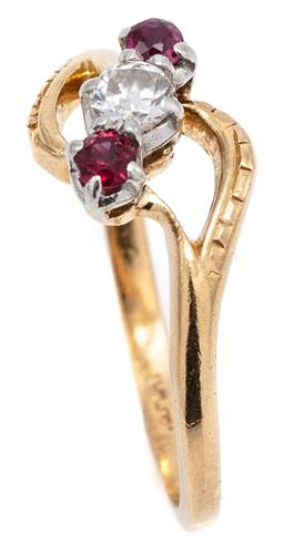Sale 9115 - Lot 368 - AN 18CT GOLD RUBY AND DIAMOND RING; diagonally set with a round brilliant cut diamond of approx. 0.11ct adjacent to 2 small rubies o...