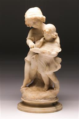Sale 9122 - Lot 44 - An Edwardian Alabaster Figural Group Of Children Reading (H: 45cm)