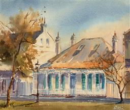 Sale 9252A - Lot 5064 - ALISON FAULKNER (1918 - ) Argyle Street, The Rocks watercolour 24 x 29.5 cm (frame: 409 x 45 x 3 cm) signed lower right