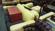 Sale 8390 - Lot 1511 - Vintage Yellow Leather 3 Piece Club Lounge