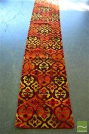 Sale 8515 - Lot 1059 - Red & Yellow Tone Machine Made Hall Runner (730 x 68cm)