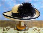 Sale 8577 - Lot 55 - A vintage cream and black Miss Biermer by Michael Howard 100% wool wide brim ladies hat original David Jones sales tag attached,...