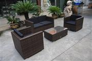 Sale 8676 - Lot 1358 - Baron & Louis Four Piece Flat Rattan Outdoor Lounge Setting incl. Pair of Armchairs, Two Seater & Glass Top Coffee Table R-BL004