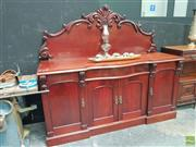Sale 8637 - Lot 1012 - Large Timber Sideboard with Carved Back and Fittings