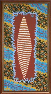 Sale 8878 - Lot 2042 - Matthew Tjupurrula Gill (1960 - 2002) - Heritage Story 105.5 x 50 cm (stretched and ready to hang)