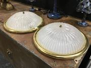 Sale 8851 - Lot 1005 - Glass Oyster Light Fittings x 2
