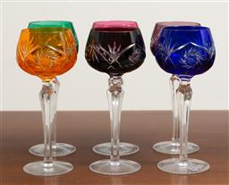 Sale 9140H - Lot 21 - A set of six Lausitzer crystal harlequin hock wine glasses, Height 19.5cm