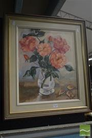 Sale 8525 - Lot 2025 - Artist Unknown, Pink Roses, 34.5 x 47cm, signed lower right