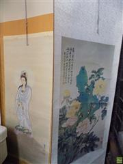 Sale 8557 - Lot 2097 - 2 Oriental Scrolls of Oriental Figure & Floral Study