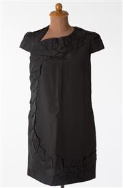 Sale 8550F - Lot 98 - A Vivienne Westwood 100% silk black mid length dress with capped sleeves, and geometric layered design to the front, size 42.