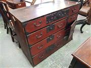 Sale 8814 - Lot 1074 - Japanese Meiji Tansu Chest, fitted with six drawers & a door, with iron mounts