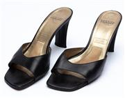 Sale 8926H - Lot 72 - A pair of vintage Charles Jourdan square toe, slip ons in black leather, size 10
