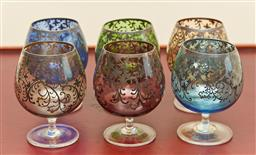 Sale 9098H - Lot 16 - A harlequin set of six coloured sherry glasses, Height 10cm