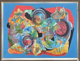 Sale 9139 - Lot 2023 - Valda Morris Untitled (Abstract) oil on board, 101 x 131cm (frame) signed lower right