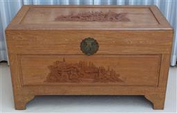 Sale 9155H - Lot 65 - A camphorwood lidded chest depicting village scenes. Height 60cm x Width 102 x Depth 51cm