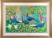 Sale 8800 - Lot 9 - Milan Todd (Australia 1922-) - Peacocks in the Woodland 10-82 84 x 82cm
