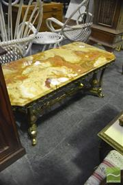 Sale 8398 - Lot 1064 - Marble Top Side Table over Ornate Metal Base