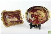 Sale 8496 - Lot 36 - Carlton Ware Rouge Frame Dish & Double Handled Pagoda Dish (AF)