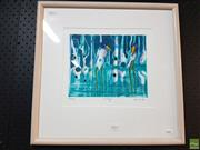 Sale 8592 - Lot 2095 - Helen Norton - Billabong, hand coloured etching ed. 66/80, 19.4 x 24cm, signed lower right