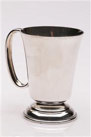 Sale 9052 - Lot 378 - English Sterling Silver Plated Christening Cup, with enamelled crest (H: 10cm)
