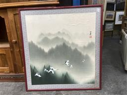 Sale 9091 - Lot 2092 - Chinese School, Flying Cranes, ink and watercolour, frame: 85 x 79 cm (A.F)