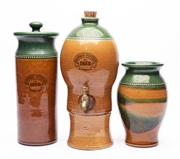 Sale 9170H - Lot 38 - Four pieces of Bendigo Pottery wares including lidded canister, tallest Height 33cm