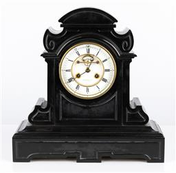 Sale 9245J - Lot 57 - An impressive French black slate clock by Gorini Freres and Co. with two train movement and Roman numeral dial with key and pendulum...