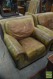Sale 8390 - Lot 1659 - Pair Leather Oversized Armchairs