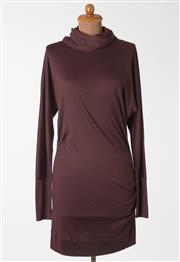 Sale 8550F - Lot 100 - A Diane Von Furstenberg 100% wool burgundy dress with long sleeves, and loose turtleneck, size 6.