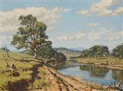 Sale 8622 - Lot 2001 - Howard Barron (1900 - 1991) - Quiet River, Murrumbidgee River 22 x 30cm