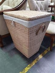 Sale 8672 - Lot 1072 - Woven Laundry Basket with Linen Lining