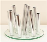 Sale 8855H - Lot 40 - A chrome and glass multi-stem table vase