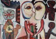 Sale 8938 - Lot 565 - John Cattapan (1956 - ) - Two Figures Demonstrating Love, 1984 78 x 110.5 cm