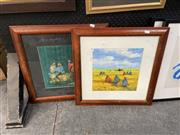 Sale 8995 - Lot 2073 - 2 Works: Artist Unknown - Camping & Selling Fruit acrylic on paper, SLR