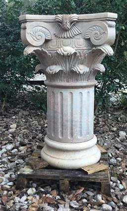 Sale 9175G - Lot 34 - Solid Carved Marble Column With Capital Top .Consists Of 3 Parts . General Wear , slight Chipping ,Natural Stone Vein Line , Previou...