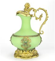 Sale 8314 - Lot 58 - French Green Glass Gilded Jug