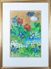 Sale 8800 - Lot 10 - Milan Todd (Australia 1922-) - Butterflies & Hibiscus 50 x 34cm