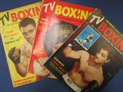 Sale 8419A - Lot 97 - TV Boxing - a box containing lots of 1950s TV Boxing with great Rocky covers, and a bundle of newspaper clippings from 1925
