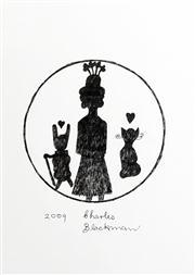 Sale 8583 - Lot 547 - Charles Blackman (1928 - ) - Schoolgirl, Rabbit and Cat Circular Portrait, 2009 40.5 x 29cm
