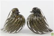 Sale 8608 - Lot 39 - Gold Aventurine Glass Birds (H:14cm)