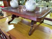 Sale 8657 - Lot 1070 - Timber Coffee Table on Carved Stretcher Base