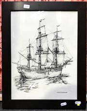 Sale 8941 - Lot 2045 - HMS Endeavour Facsimile Print